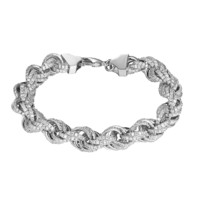 "Sterling Silver Rope Link Bracelet 11mm Chain 9"" Bling Hip Hop Simulated Diamonds Silver Tone"
