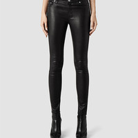 Womens Elm Leather Jean (Black) | ALLSAINTS.com