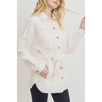 Collared Single Breasted Self Belted Frayed Hem Jacket with Pockets