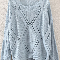 Blue Cut-Outs Dipped Hem Sweater