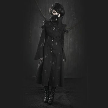 Punk Rave Gothic Priest Trench Coat [Special Order] - Gothic,Goth,Black,Jacket,C