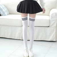 1 Pair Sexy Fashion Women Girl Thigh High Stocking High Over Knee High Socks Ladies Girls White Black Cute Long Cotton Warm Sock