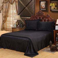 Cool New High Quality Black Sheets Luxury Satin Silk Bed Seet King Queen Twin Size Solid Black Flat Bedsheet Bedspread No PillowcaseAT_93_12