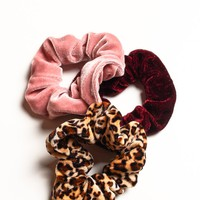 Velvet Scrunchie Set - Pink