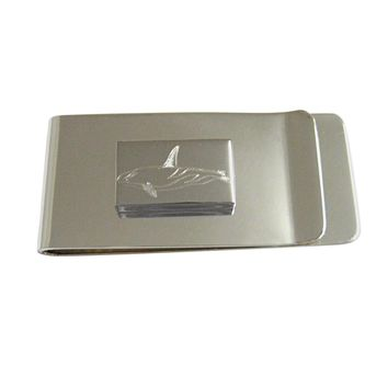 Silver Toned Etched Killer Whale Orca Money Clip