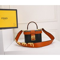 HCXX 19June 397 Fendi Letter Logo Shoulder Strap High-capacity Shopping Bag Handbag 18-12-10  black brown