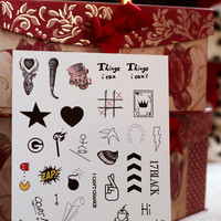 Miniature One Direction Inspired Temporary Tattoos