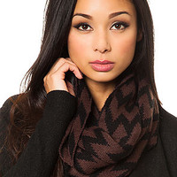 MKL Accessories Scarf Zig Zag in Black and Brown