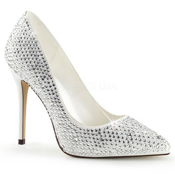 "Amuse 20RS Ivory Satin Single Sole Pump Cover In Rhinestones - 5"" Heels"