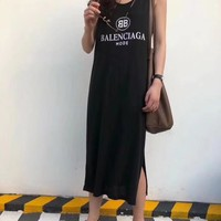"""Balenciaga"" Women Casual Fashion Letter Print Sleeveless Vest Maxi Dress"