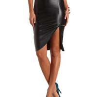 Faux Leather Envelope Skirt by Charlotte Russe - Black