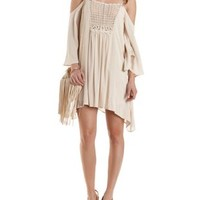 Crochet & Gauze Cold Shoulder Shift Dress - Natural