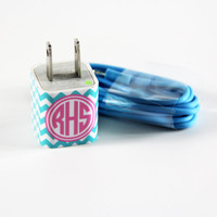 Blue Chevron Custom Monogram  Wall Charger Adapter for iPhone and  Samsung HTC Andriod