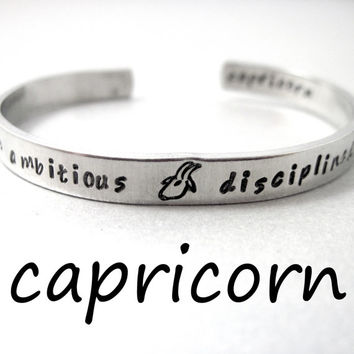 Zodiac Sign Bracelet - CAPRICORN - 2-Sided Hand Stamped Aluminum Cuff - Gifts Under 20