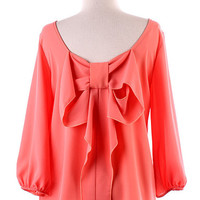 Coral Bow Accent Top