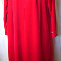 Long Robe, Cherry Red, Ivory Lace,  Lounging, Velour, Non Separating Zip, Cinema Etoile, Size M Medium, Winter Cozy