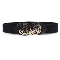 Adjustable Elastic Stretch Flower Buckle Wide Waist Belt Waistband