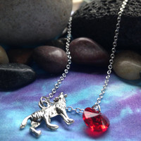 Ruby Red Wolf Once Upon a Time Character Necklace with Charm and Swarovski Crystal Heart