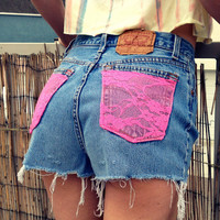 High waist denim shorts lace pockets Size by UnraveledClothing