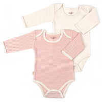 Tadpoles™ by Sleeping Partners 2-Pack Organic Cotton Long Sleeve Bodysuits in Coral/White