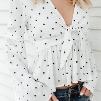 A| Chicloth Black Polka Dots Tie Blouse