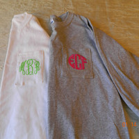 Child Long Sleeve Monogram Pocket T- Shirt