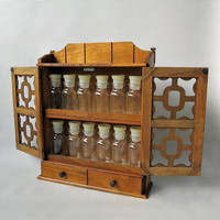 Vintage Wooden Spice Rack / Box / Apothecary Cabinet With Small Glass Bottles /Jars Made In Japan by Pat Yoshikawa