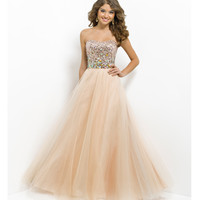 Pink by Blush 2014 Prom Dresses - Champagne Strapless Sequin Prom Gown - Unique Vintage - Prom dresses, retro dresses, retro swimsuits.