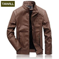 TAWILL Winter Fleece Warm Bomber Jackets Male Leather Jacket Fashion Casual Overcoat Military Jacket  Men's Clothing New QL1699