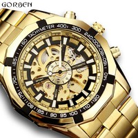 Top Luxury Golden Automatic Mechanical Watches Men Skeleton Stainless Steel Self Wind Mens Sport Wrist Watch Hand Clock relogio