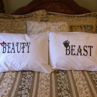 Beauty & Beast Couples Pillow cases, His and Hers Pillow cases, Anniversary gifts, Wedding gifts, Decorative Bedroom Pillows