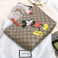 GUCCI & Disney New fashion mouse more letter print shoulder bag handbag