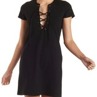 Black Short Sleeve Lace-Up Shift Dress by Charlotte Russe