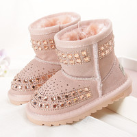 2016 winter new children snow boots reihnstone kids leather boots warm shoes with fur princess  baby girls ankle boots