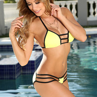 Yellow Black Two Tone Strappy Sexy Two Piece Bikini