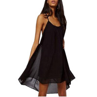 Casual Summer Dress Mini Sleeveless Black Sun Beach Dress Women Summer Dress 2015 Flare High Low Dresses Vestido Vestidos  Style = 5613061249
