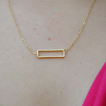 Rectangle Necklace - Charm Necklace - Tiny Necklace - Delicate Necklace - Rectangle Pendant - Gold Jewelry - Gold Necklace - Gift Under 20