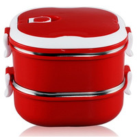 BONENG 1300 ml Double Layer Stainless Steel Lunch Box with Handle (Red)