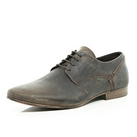 River Island MensBrown distressed leather shoes