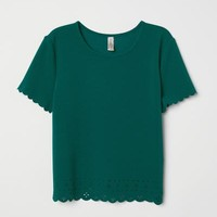 Scalloped-edge Top - Dark green - Ladies | H&M US