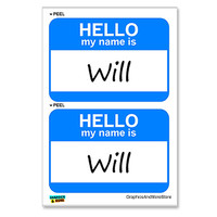Will Hello My Name Is - Sheet of 2 Stickers