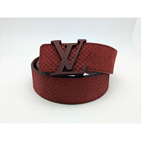 Louis Vuitton LV Initiales 40MM Carmine Suede Belt 90cm/36 inches