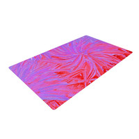 "Ebi Emporium ""Water Flowers Crimson Lilac"" Pink Red Woven Area Rug"