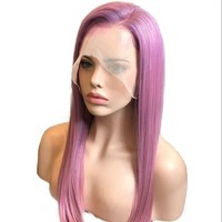 Glueless Lace Front Human Hair Wigs Pre Plucked Brazilian Straight Lace Front Wig Purple