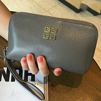 Givenchy first layer of leather handbags leather zipper clutch Gray