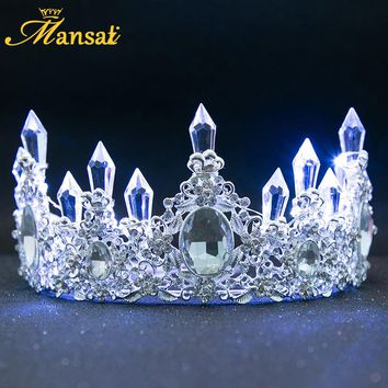 New Shining Glowing Tiaras White Blue LED Light Rhinestone Wedding Crown Luxury Princess Diadem For Bride Hair Accessories HG107