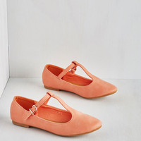 ModCloth Around-the-Clock Cute Flat in Coral