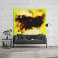 Wall Tapestry 12 Hole In My Heart Black White Yellow Abstract by Corbin Henry for Society6 home decor. on The Cedrus