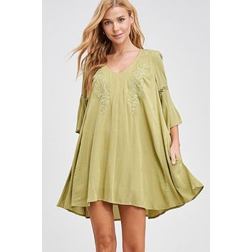 Sunshine And Happiness Sage Green Embroidered Swing Dress
