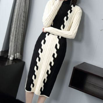 Retro high collar knitted sweater with slim waist over knee dress